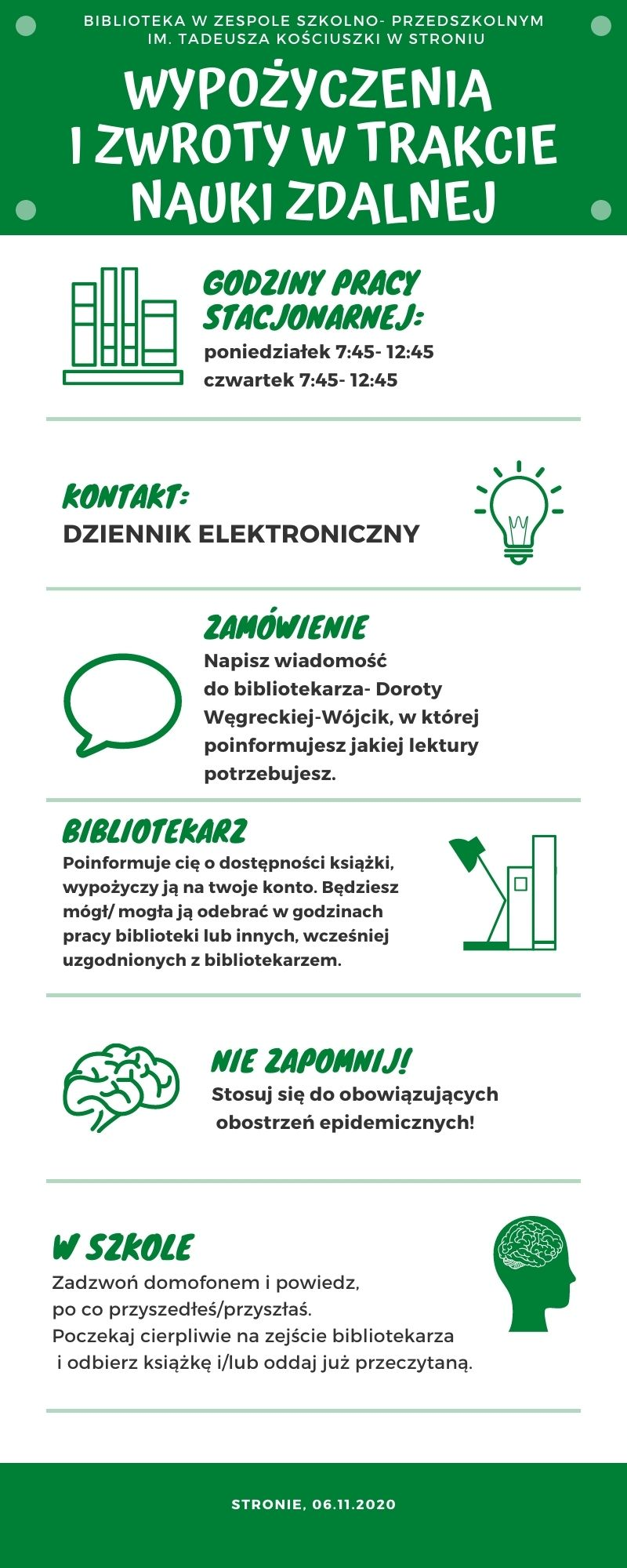 Zasady pracy biblioteki szkolnej w czasie zdalnego nauczania